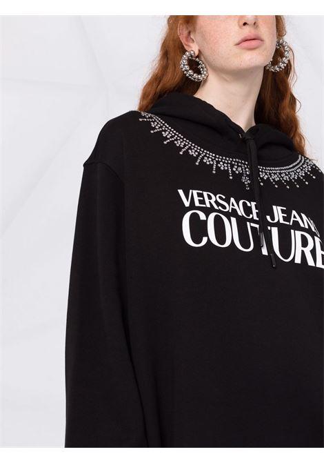 Abito modello felpa con logo a contrasto in nero -donna VERSACE JEANS COUTURE | 71HAIG03CF00G899