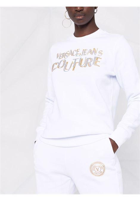 Felpa a girocollo con logo in glitter in bianco - donna VERSACE JEANS COUTURE | 71HAIT02CF00TG03