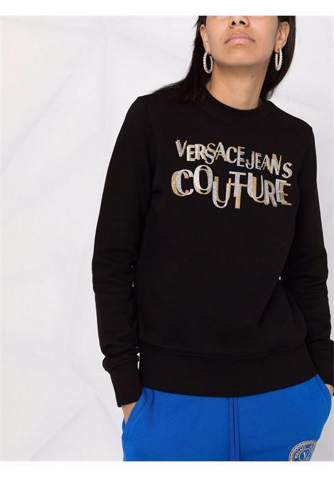 Felpa a girocollo con logo in glitter in nero - donna VERSACE JEANS COUTURE | 71HAIT02CF00TG89