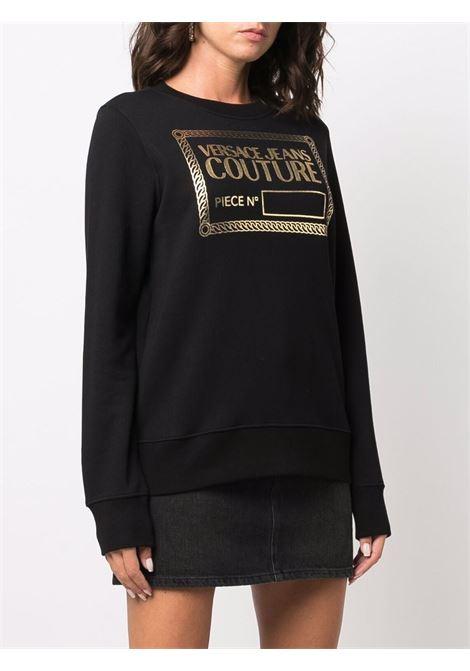 Felpa a girocollo con logo metallizzato in nero - donna VERSACE JEANS COUTURE | 71HAIT12CF00TG89
