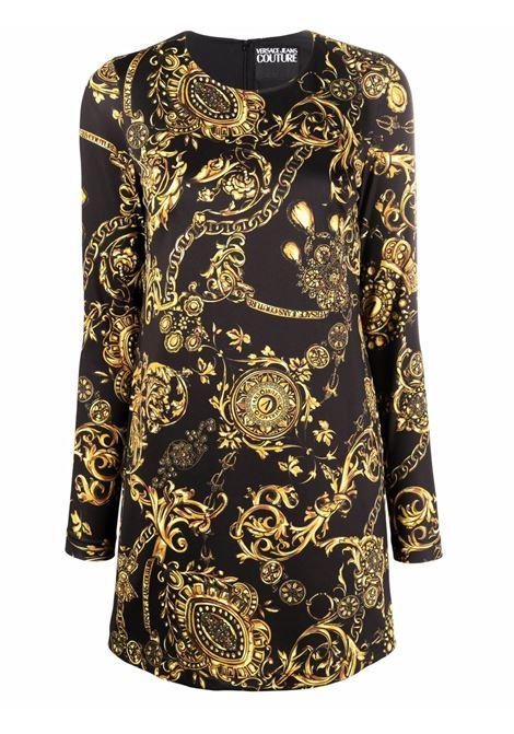 Abito corto a maniche lunghe New Baroque in nero e oro - donna VERSACE JEANS COUTURE | 71HAO921JS009G89