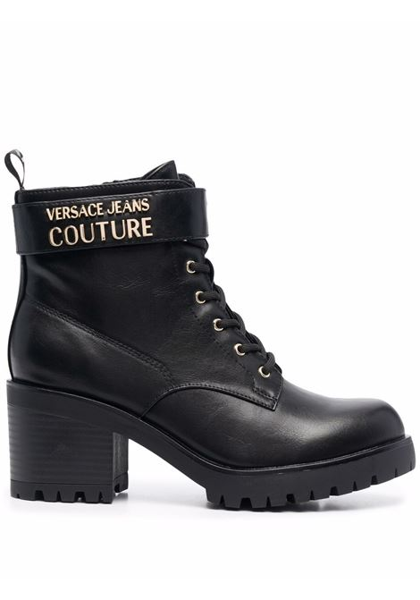 Black chunky-heel lace-up boots - women  VERSACE JEANS COUTURE   71VA3S9071570899