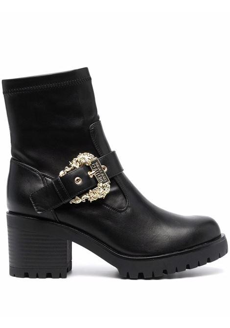 Black decorative-buckle block-heel boots - women  VERSACE JEANS COUTURE   71VA3S9271570899