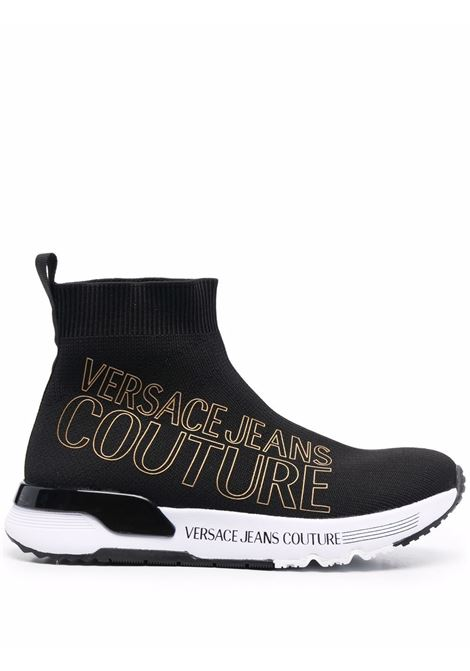 Black logo-print sock-style sneakers - wome  VERSACE JEANS COUTURE   71VA3SA1ZS016899