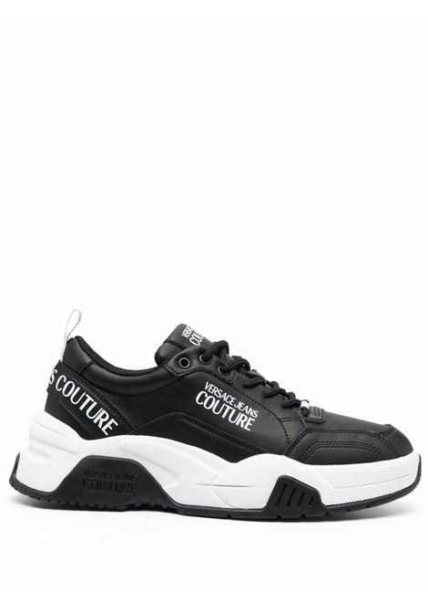 Black logo-print sneakers - men  VERSACE JEANS COUTURE | 71YA3SF6ZP022899