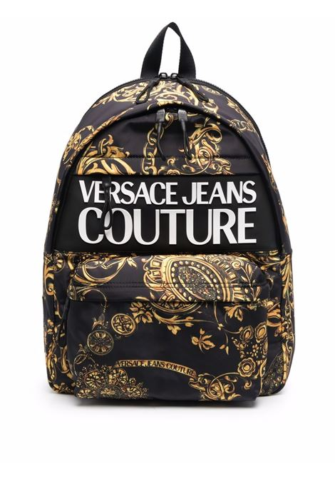 Black baroque-print zipped backpack - men  VERSACE JEANS COUTURE | 71YA4B90ZS109G89