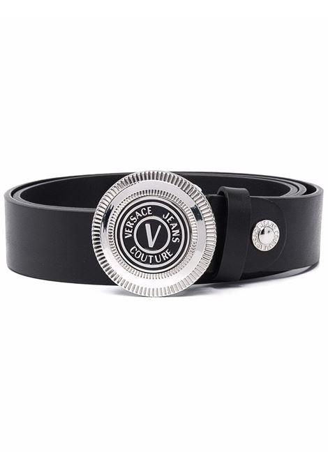 Black engraved-logo buckle belt - men  VERSACE JEANS COUTURE | 71YA6F0872006OF6