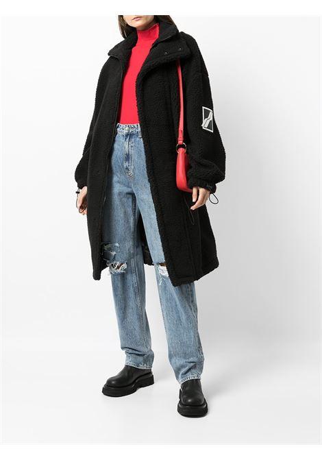 Logo-patch oversized coat in jet-black - women WE11DONE   WDJP321193BK