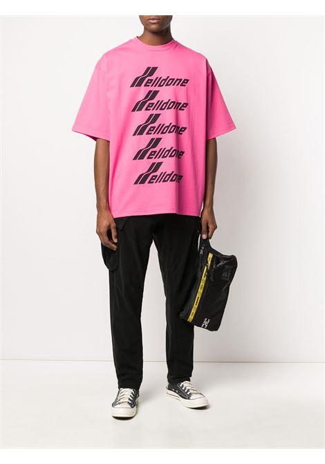 Oversized logo-print T-shirt in pink - unisex WE11DONE   WDTP620074PK