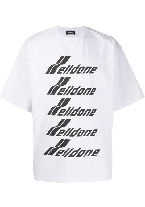 Oversized logo-print T-shirt in white - unisex WE11DONE   WDTP620074WH