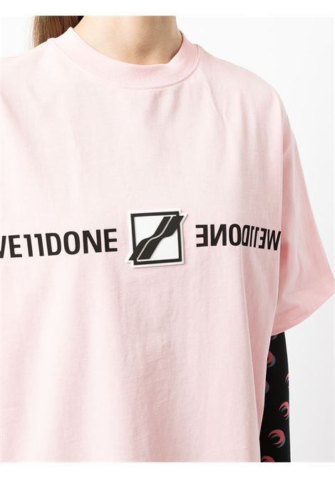 Logo-patch logo-print T-shirt in pink, white and black - women WE11DONE   WDTT321565PK