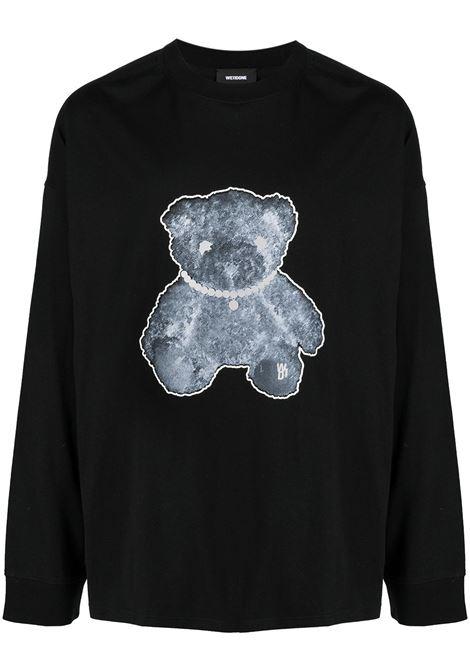 Teddy print long-sleeved T-shirt in black - men  WE11DONE   WDTT920116BK