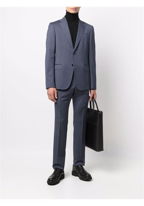 Indigo-blue single-breasted wool suit - men  Z ZEGNA | 2227442G9AGN412