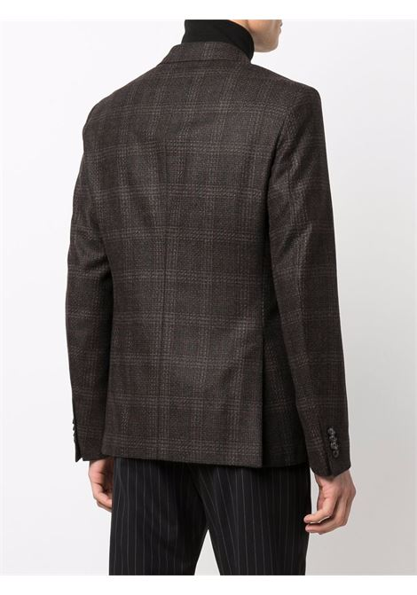 Brown checked double-breasted  blazer- men  Z ZEGNA | 2547411GS4G0206