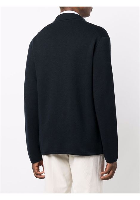 Notched lapels knitted blazer in blue - men  Z ZEGNA | VYB65ZZ164B09