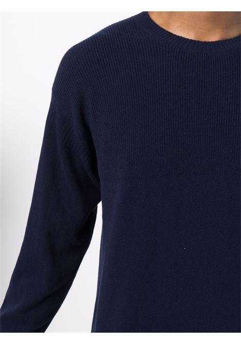Navy blue ribbed-knit crewneck jumper - men  Z ZEGNA | VYH12ZZ110B09