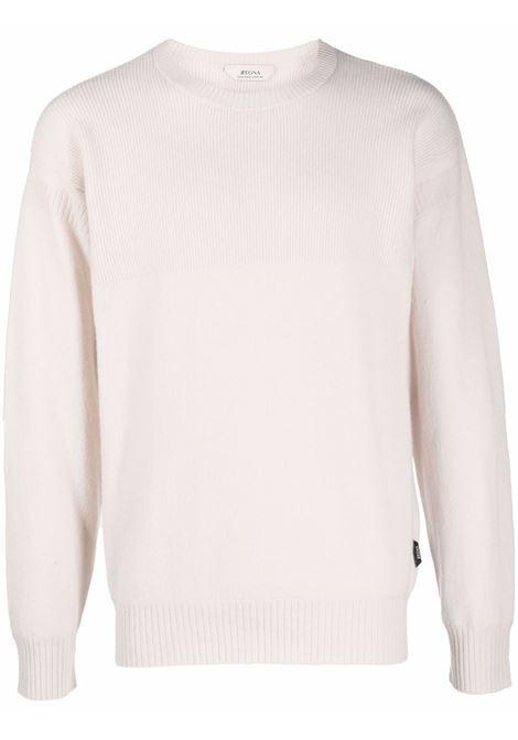 Pearl white ribbed-knit crewneck jumper - men  Z ZEGNA | VYH12ZZ110N01