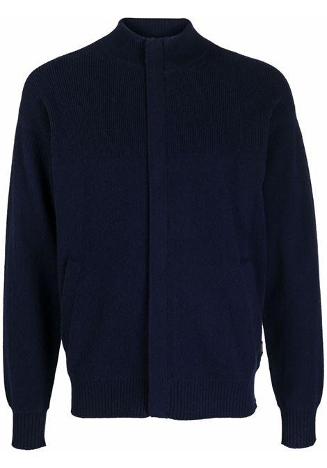 Navy blue concealed-zip knitted cardigan - men  Z ZEGNA | VYH12ZZ154B09