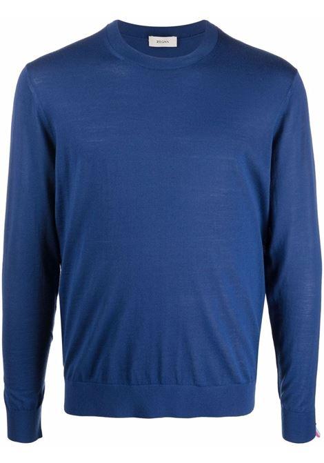 Fine-knit crewneck knitted jumper in blue - men Z ZEGNA | VYM96ZZ110B07
