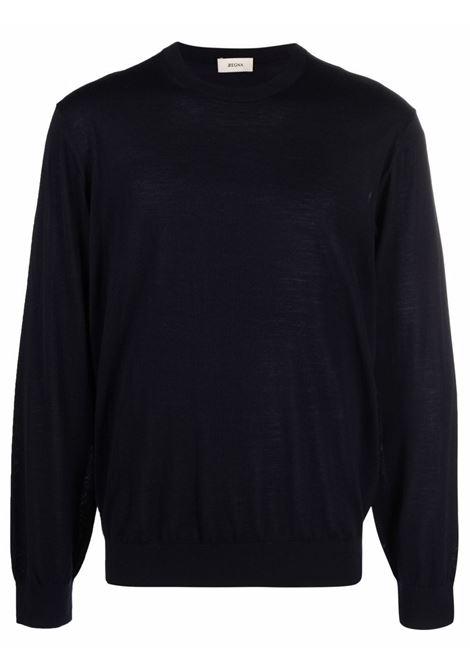 Fine-knit crewneck knitted jumper in blue marine - men Z ZEGNA | VYM96ZZ110B09