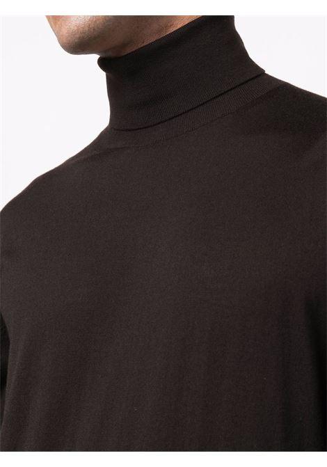 Fine-knit rollneck knitted jumper in brown - men Z ZEGNA | VYM96ZZ120M09