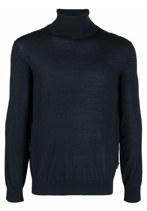 Fine-knit rollneck knitted jumper in blue - men Z ZEGNA | VYM96ZZ120T08