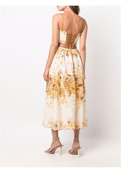 Aliane floral-print linen dress in off white and gold-tone - women  ZIMMERMANN | 1760DALIAMFL