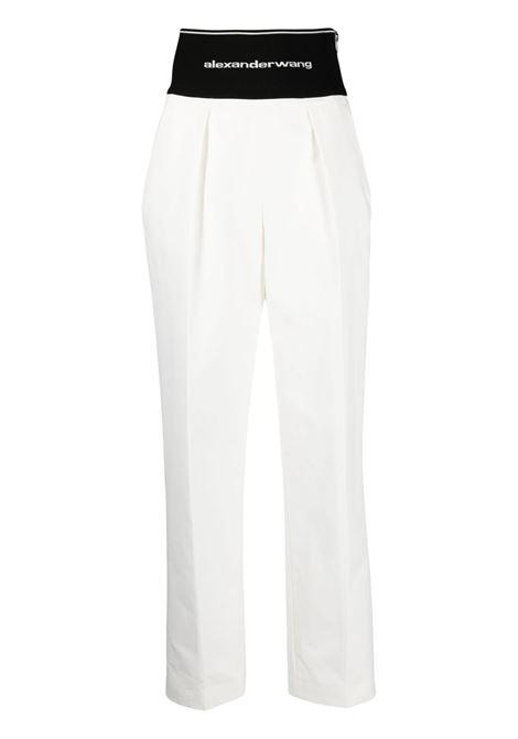 Logo waistband trousers white - women ALEXANDER WANG | Trousers | 1WC2214345110