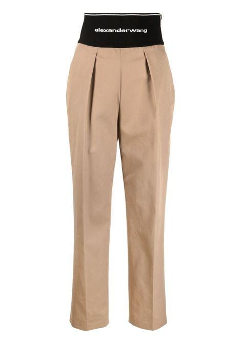 Logo waistband trousers beige - women ALEXANDER WANG | Trousers | 1WC2214345282