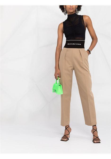 Pantaloni a vita alta elasticizzata con logo beige- donna ALEXANDER WANG | 1WC2214345282