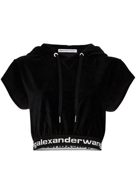 Felpa crop con logo nero - donna ALEXANDER WANG | 4CC1201106001