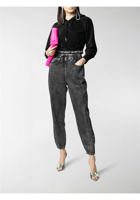 Cropped logo-trim sweatshirt black - women ALEXANDER WANG | 4CC1211197001