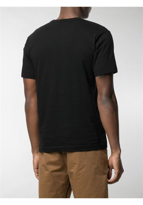 T-shirt double heart in nero - uomo COMME DES GARCONS PLAY | P1T2881