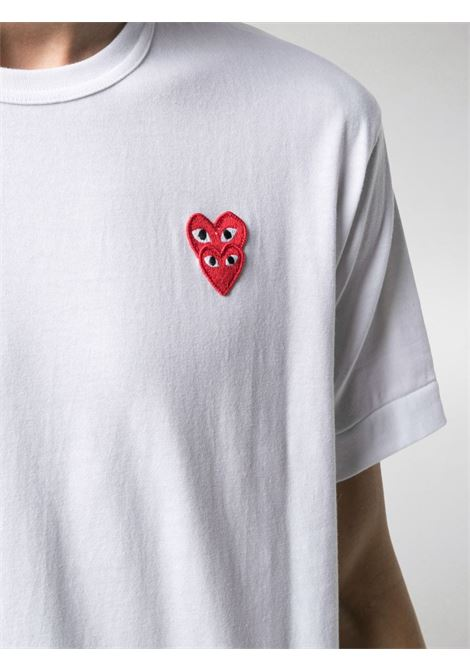 T-shirt double heart in bianco - uomo COMME DES GARCONS PLAY | P1T2882