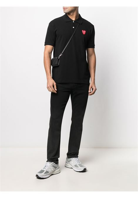 Polo double heart in nero - uomo COMME DES GARCONS PLAY | P1T2901