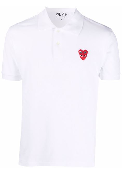 Polo double heart in bianco - uomo COMME DES GARCONS PLAY | P1T2902