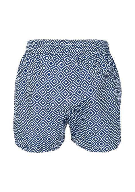All-over print swim shorts in navy blue - men  FRESCOBOL CARIOCA | 100704
