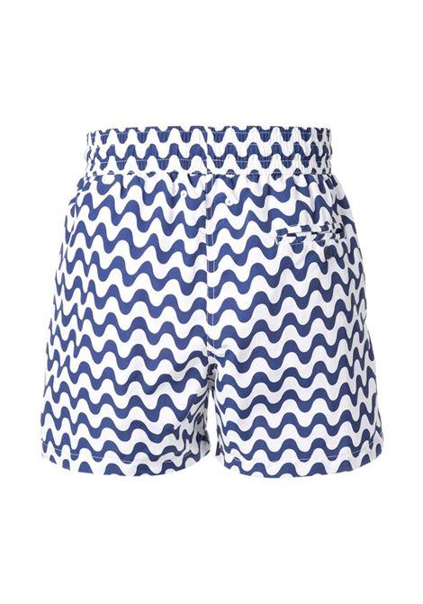 All-over print swim shorts in terracotta-red/off-white - men  FRESCOBOL CARIOCA | 101804