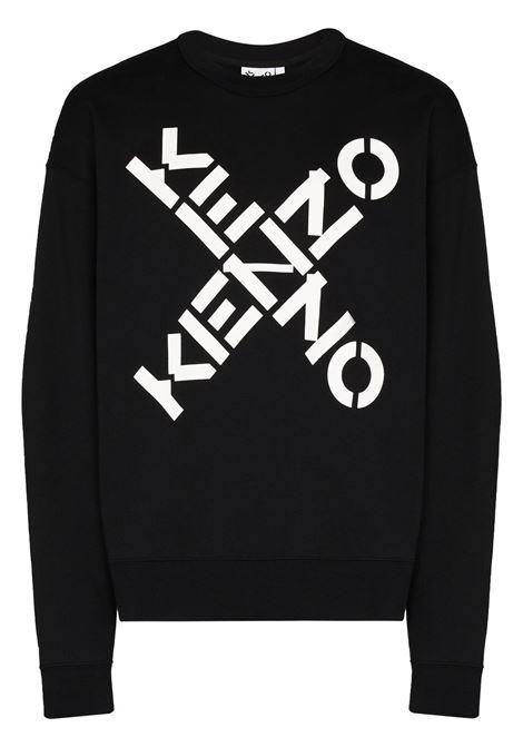 Logo-print cotton sweatshirt in black - men  KENZO | FA65SW5214MS99