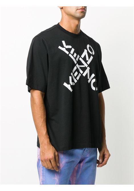 T-shirt con logo incrociato in nero - uomo KENZO   FA65TS5024SJ99