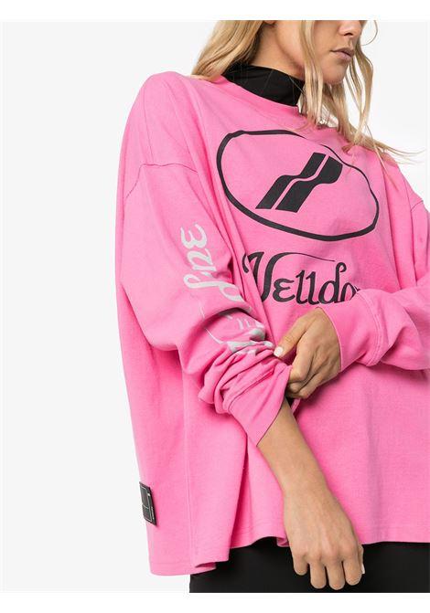 Logo-print cotton long-sleeve T-shirt in pink - women  WE11DONE   WDTP420712PK
