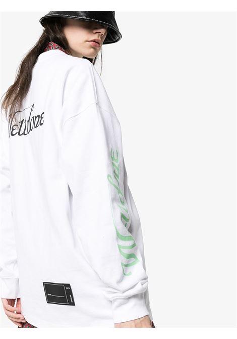 Logo-print cotton long-sleeve T-shirt in white - women  WE11DONE   WDTP420712WH