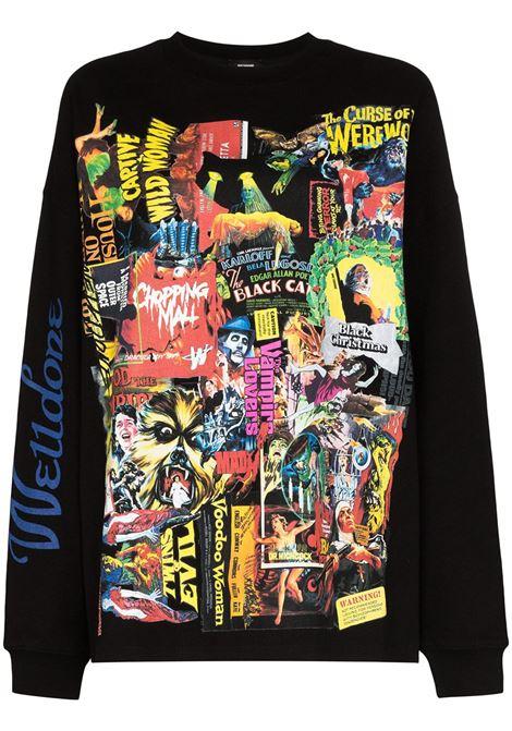 Horror collage print sweatshirt in black - women  WE11DONE   WDTP420728BK