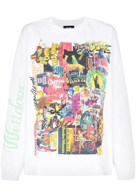 Horror collage print sweatshirt in white - women  WE11DONE   WDTP420728WH
