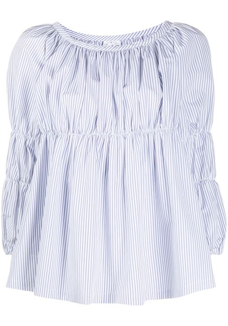 Cropped sleeve striped print blouse COMME DES GARCONS | Blouses | REB0191