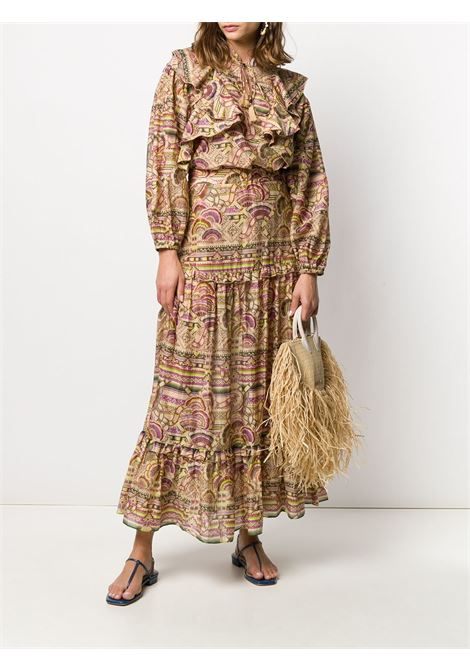 Pleated patterned maxi skirt CHUFY | PSPS1901NINN
