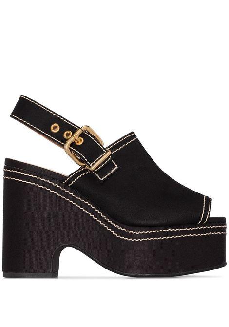 Contrast stitch wedge sandals MARNI | Sandals | ZPMS004511P296500N99