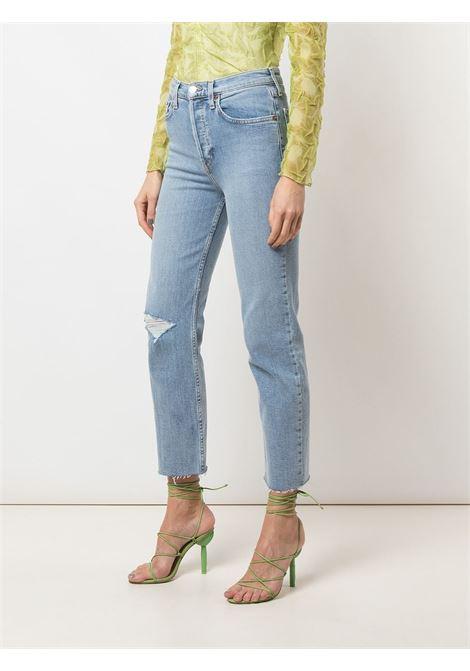 Jeans taglio straight effetto vissuto Donna RE/DONE   1903WSTV27CLDY BL