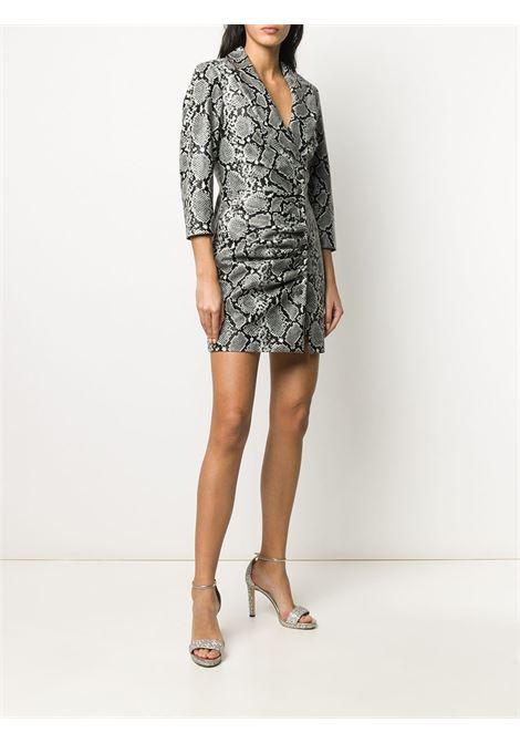 V-neck ruched snakeskin print dress RETROFETE | HL202108SLVSK