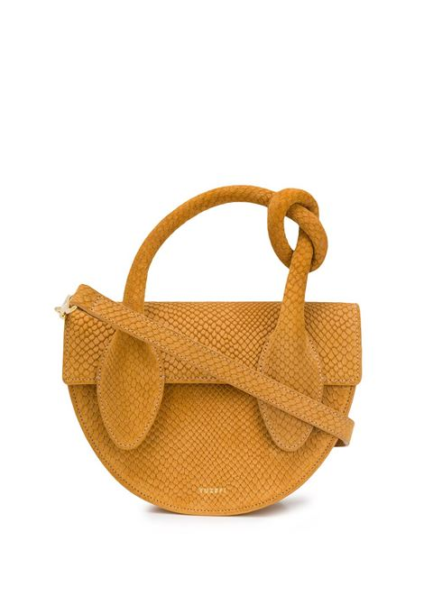 Dolores knotted snake-effect mini tote bag YUZEFI | Tote bag | YUZRS20DL06MSTRD